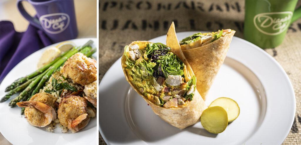 Diana's Cafe lunch shrimp chicken wrap
